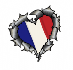 Ripped Torn Metal Heart Carbon Fibre with France French Flag Motif External Car Sticker 105x100mm